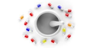 Capsules rouges de pilules et un mortier d'isolement sur le fond blanc Vue supérieure illustration 3D illustration libre de droits