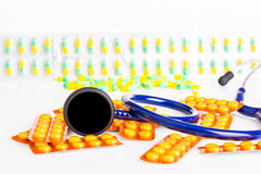 Capsules, stethoscope Royalty Free Stock Photo