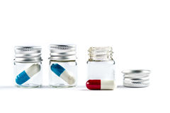 Capsules in Transparent bottle, healthcare and medicine Stock Photography