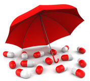 Capsules with Umbrella Royalty Free Stock Photography