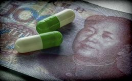 Capsules Up Ticket chinese,. Concept Of Health Copay Stock Images