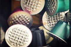 Capsules utilisées de café images stock