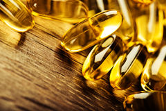 Capsules van het vistraan de omega 3 gel Stock Foto's