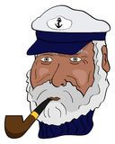 Captain. Vector picture of marine captain with a pipe vector illustration