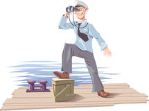 Captain. The captain is standing on the deck or the moorage and watching the skyline stock illustration