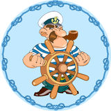 Captain. Marine captain standing at the wheel.Frame of knots on a separate layer.Additionally, a vector EPS format Royalty Free Stock Image