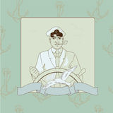 Captain. Young beautiful captain at the steering-wheel stock illustration
