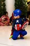 Captain America cosplay pose Stock Photography