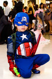 Captain America cosplay pose royalty free stock image
