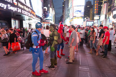 Captain America and Hulk in Times Square Royalty Free Stock Image