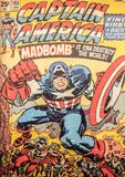 Captain America, original comic book cover. Captain America, a Marvel superhero character, played by Chris Evans. Original old style comic book cover royalty free stock image
