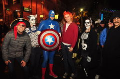 Captain America and others at Toronto Zombie walk. Captain America and other costumes at the 2015 Zombie walk and parade at Halloween in Toronto, Ontario, Canada Stock Photos
