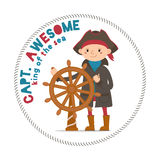 Captain Awesome lettering with boy sailor, pirate holding steering wheel. Captain Awesome, king of sea lettering, print with boy sailor, pirate holding steering Royalty Free Stock Photo