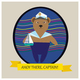 Captain Bear - illustration with cute bear in blue pants Royalty Free Stock Photography