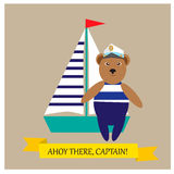Captain Bear and ship Royalty Free Stock Images