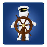 Captain behind the steering wheel Royalty Free Stock Images