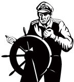Captain behind the wheel Royalty Free Stock Images