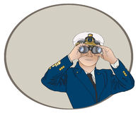 Captain Binoculars. Vector art in Illustrator 8. Ship captain looking through binoculars Royalty Free Stock Photos