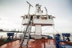 Captain bridge located on huge cargo ship Royalty Free Stock Photo