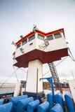 Captain bridge located on huge cargo ship Royalty Free Stock Photography