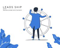 Captain. Businessman leads ship toward profit. Business concept vector illustration. Businessman with steering wheel as a symbol of business leadership Stock Images