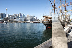 National Maritime Museum Sydeny. The replica of Captain Cooks Ship the Endeavour berthed at the National Maritime Museum at darling harbour Sydney with the James stock images