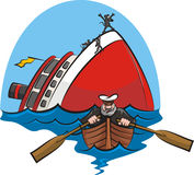 Captain coward. Chicken of the sea, the captain goes down with the ship Royalty Free Stock Images