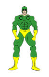 Captain Credit. Muscle shaped generic male superhero in tight green and yellow costume isolated on a white background vector illustration