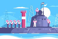 Captain with crew on submarine Royalty Free Stock Image