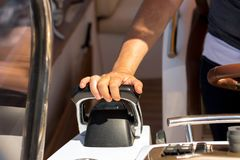 Captain drives ship. Mode of Transport, Nautical Vessel, Travel royalty free stock photo