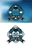 Captain emblem with cap and lifebuoy Stock Image