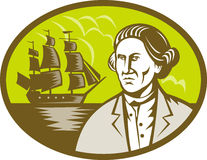 Captain explorer tall ship galleon. Illustration of a Captain  or explorer with tall ship  or galleon in the background set inside oval done in retro style Stock Photography
