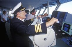 The captain of the ferry Bluenose piloting the ship through the waters between Maine and Nova Scotia Stock Images