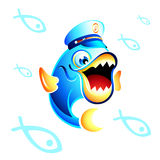 Captain Fish. Colorful Captain Fish with his fishy army Royalty Free Stock Image
