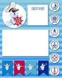 CAPTAIN. Funny polar bear-toddler. Baby set of planner elements with marine theme.  Time of adventure and sea voyages. Daily and weekly planner. The layout can Royalty Free Stock Photo