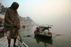 Captain on Ganges river Royalty Free Stock Images