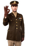 Captain gesturing okay sign. We are all safe. Royalty Free Stock Image