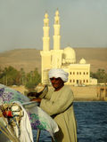 Captain getting his felucca boat ready Stock Images