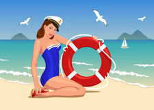 Captain girl pin-up Royalty Free Stock Photography