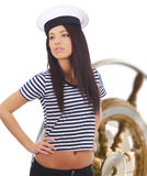 Captain girl  standing on the yacht Stock Images