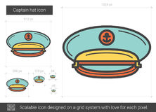 Captain Hat Line Icon. Stock Image