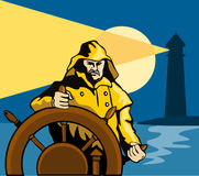 Captain at the helm of a ship. Vector art of a Captain at the helm of a ship Royalty Free Stock Image