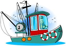 Captain On His Boat. This illustration depicts a man at the helm of his fishing trawler Royalty Free Stock Image