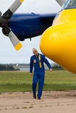 Captain A.J. Harrell Walking Around Fat Albert Stock Images