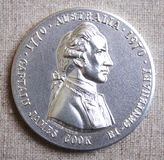 Captain James Cook silver medal. Captain James Cook bi-centenary sterling silver medal 1770-1970 on canvas background Stock Photography