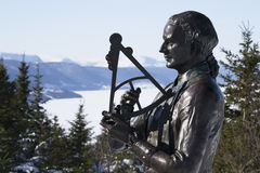 Captain James Cook National Historic Site Corner Brook Newfoundland. A statue of Captain James Cook stands on a National Historic Site with the Blomidon stock photo