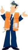 Captain in lifejacket. Master of a ship wearing lifejacket Royalty Free Stock Photo