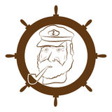 Captain logo. Vector picture of marine captain with a pipe stock illustration