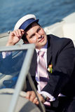 Captain managing the yacht Royalty Free Stock Photos