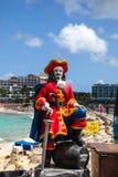 Captain Morgan statue near Sunset Bar and Gril  at Maho Bye Beac Stock Photography